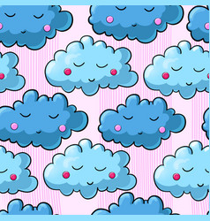 Seamless pattern with cartoon clouds vector