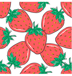 seamless pattern with red strawberries on white vector image