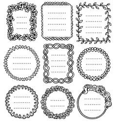 set black doodle frames for bullet journal vector image