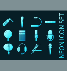 set different microphones types neon icons vector image