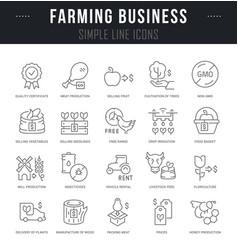 set line icons farming business vector image