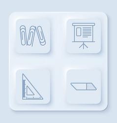 Set line paper clip presentation financial board vector