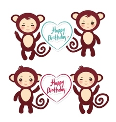 Set of funny brown monkey boys and girls monkey vector
