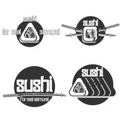 Set of vintage sushi emblems vector image