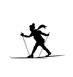 silhouette of a skier going isolated lover of vector image