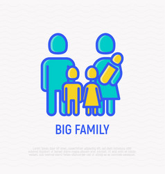 silhouette of big family with three children vector image