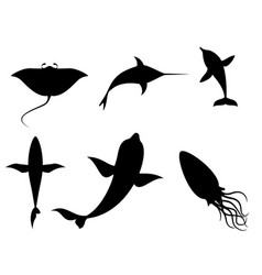 silhouettes sea creatures vector image