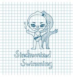 Sketch Girl Synchronized Swimmer vector