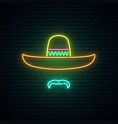 sombrero and mustache glowing neon sign vector image