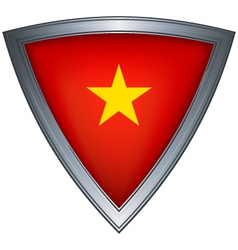 steel shield with flag vietnam vector image