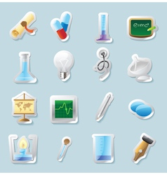 Sticker icons for science and education vector image