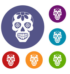 Sugar skull flowers on the skull icons set vector