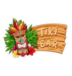 tiki tribal wooden mask vector image
