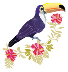 toucan embroidery bird vector image