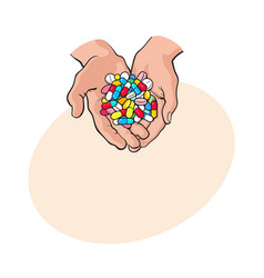 Two cupped hands holding handful pile of colorful vector