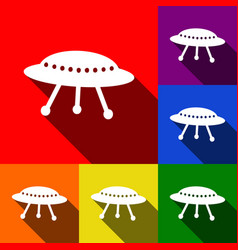 ufo simple sign set of icons with flat vector image