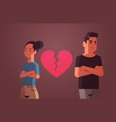 unhappy sad couple with broken heart in depression vector image