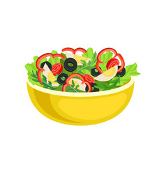 vegetable salad in a deep yellow bowl vector image