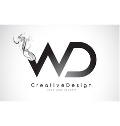 Wd letter logo design with black smoke vector