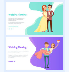 wedding planning man and woman bouquet flowers vector image