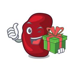 With gift spleen mascot cartoon style vector