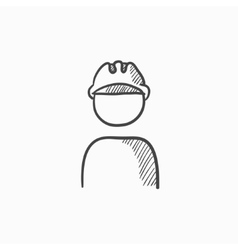 Worker wearing hard hat sketch icon vector image