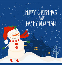 cartoon for holiday theme with snowman on winter vector image vector image