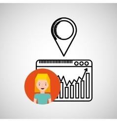 character hand draw pin web icon vector image