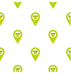 Green map pin pointer with atm sign pattern flat vector