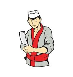 Japanese Butcher Holding Meat Cleaver Knife vector image vector image