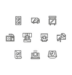 stage elements black line icons set vector image vector image