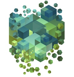Abstract 3D cubes vector image vector image