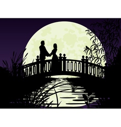 Couple on bridge vector image vector image