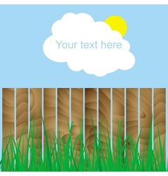 Fence wood grass cloud sun sign here your text vector