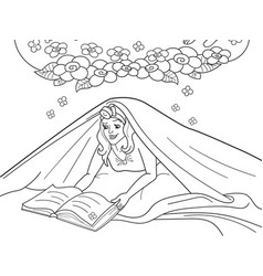 girl reading book with flashlight under the vector image