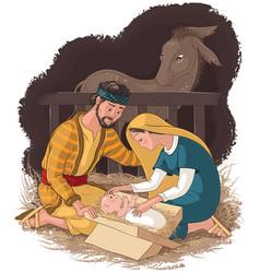 nativity scene with jesus mary and joseph vector image vector image