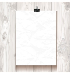 White wrinkled texture paper hanging on one binder vector image vector image
