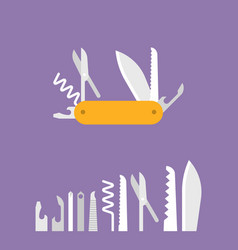 multifunctional pocket knife icon vector image