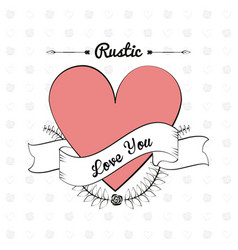 rustic card material decorative heart image vector image
