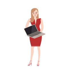 woman standing holding laptop try to sell vector image vector image