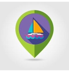 Boat with a Sail flat mapping pin icon long shadow vector image vector image