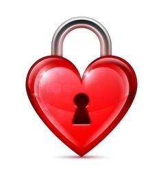 Red heart lock vector