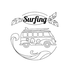 Surf trip outline background Minimalistic linear vector image