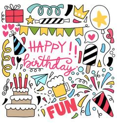 07-09-043 hand drawn party doodle happy birthday vector
