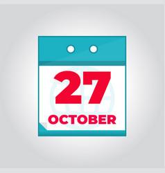 27 october flat daily calendar icon vector