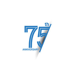 75 anniversary blue cut style isolated on white vector