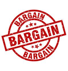 Bargain round red grunge stamp vector