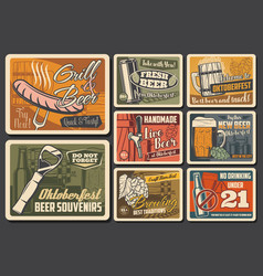 beer alcohol drink retro posters pub or brewery vector image