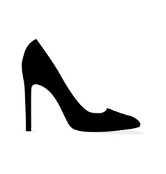Black modern stilleto shoe isolated silhouette vector
