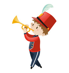 Boy in band uniform playing trumpet vector